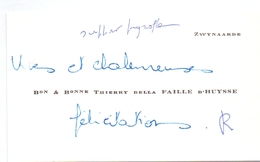 Visitekaartje - Carte Visite - Adel Noblesse - Baron & Baronne Thierry Della Daille D'Huysse - Zwijnaarde - Cartes De Visite