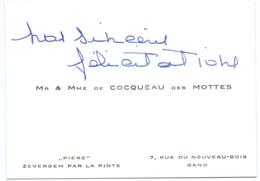 Visitekaartje - Carte Visite - Adel Noblesse - Mr & Mme De Cocquéau Des Mottes - Zevergem - Gand Gent - Cartes De Visite