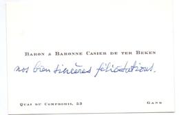 Visitekaartje - Carte Visite - Adel Noblesse - Baron & Baronne Casier De Ter Beken - Gand - Gent - Visiting Cards