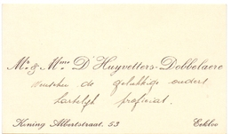 Visitekaartje - Carte Visite - Mr & Mme D'Huyvetters - Dobbelaere - Eeklo - Cartes De Visite