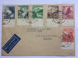 GERMANY 1938 Air Mail Cover Berlin To Leicester England Tied Winter Relief Fund Examples With Marginal Numerals - Germania