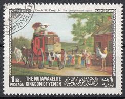 "Mutawakelite K. Yemen 1968 Mi. 557 ""The Pernigewasset Coach"" Quadro Dipinto Enoch Wood Perry Jr. Paintings Tableaux CTO - Altri"
