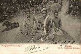Cpa CONGO BELGE - Sculpteur D'Ivoire, édit.: R: VISSER, Circulée 1911 COQUILHATVILLE - Congo Belge - Autres