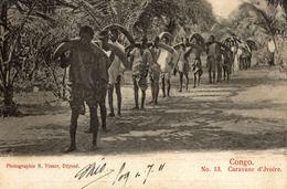 Cpa CONGO BELGE - Caravana D'Ivoire, édit.: R: VISSER, Circulée 1911 COQUILHATVILLE - Congo Belge - Autres