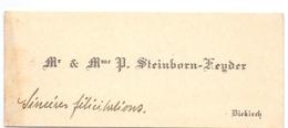 Visitekaartje - Carte Visite - Mr & Mme P. Steinborn - Heyder - Diekirch - Visiting Cards