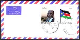 SOUTH SUDAN Cover With The 2011 1st Set 1 SSP National Flag And 3.5 SSP Dr. John Garang - Soudan Du Sud Südsudan - Zuid-Soedan