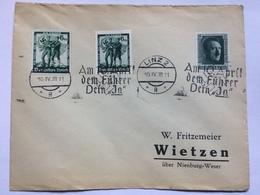 GERMANY 1938 Cover Linz To Wietzen With `Am 10 April Dem Fuhrer Dein Ja` Cancels - Germany