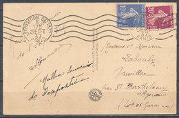 """1937 - Carte Postale With Cachet """"Exposition De 1937 Paris"""" - 1921-1960: Periodo Moderno"""