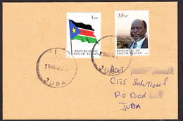 SOUTH SUDAN Cover With The 2011 1st Set 1 SSP National Flag And 3.5 SSP Dr. John Garang - Soudan Du Sud Südsudan - Sud-Soudan