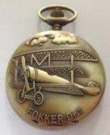 Battery Pocket Watch , Montre De Poche à Piles , FOKKER Dr.1 , Biplane , Airplane , Biplan , Avion - Joyas & Relojería