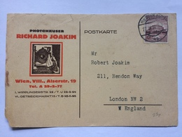 GERMANY 1938 Postcard Richard Joakim Wien Vienna To London Illustrated - Allemagne