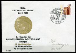 """Germany,Berlin 1988 Privatganzsache Olympische Spiele Mi.Nr. PU 143 Mit SST""""Sindelfingen-OLYMPIA Jahr """"1 Beleg - Sommer 1988: Seoul"""