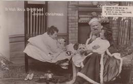 RP: CHRISTMAS , Santa Claus & Kids , Golliwog On Floor , 1911 - Santa Claus