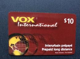 CARTE PRÉPAYÉE CANADA  *10$  VOX International - Canada