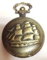 Battery Pocket Watch , Montre De Poche à Piles , USS CONSTITUTION , Sailboat , Voilier - Joyas & Relojería