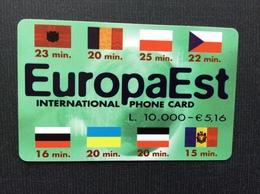 CARTE PREPAYEE ITALIE  EUROPA EST  *l.10.000-€ 5,16  International Phone Card - Publiques Ordinaires
