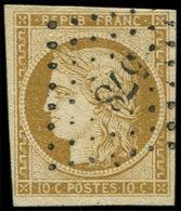 EMISSION DE 1849 - 1    10c. Bistre-jaune, Obl. PC 578, Frappe Superbe, TB/TTB - 1849-1850 Cérès