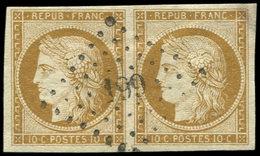 EMISSION DE 1849 - 1    10c. Bistre-jaune, PAIRE Obl. PC 199, TTB - 1849-1850 Cérès