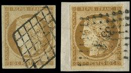 EMISSION DE 1849 - 1    10c. Bistre-jaune, 2 Ex. Obl. GRILLE Et PC S. Fragt, TB - 1849-1850 Cérès