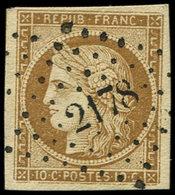 EMISSION DE 1849 - 1a   10c. Bistre-brun, Obl. PC 2178, Frappe Superbe, TTB - 1849-1850 Cérès