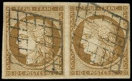 EMISSION DE 1849 - 1a   10c. Bistre-brun, PAIRE Obl. GRILLE, TTB. C - 1849-1850 Cérès