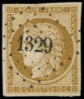 EMISSION DE 1849 - 1b   10c. Bistre-VERDATRE, Oblitéré PC 1329, Frappe Superbe, TTB. S - 1849-1850 Cérès