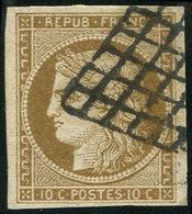 EMISSION DE 1849 - 1c   10c. Bistre-VERDATRE FONCE, Oblitéré GRILLE, TB - 1849-1850 Cérès