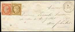 Let EMISSION DE 1849 - 1 Et 5, 10c. Bistre-jaune Au Filet Dans Un Angle Et 40c. Orange, Obl. PC 1360 S. LSC, Càd T15 GAL - 1849-1850 Cérès