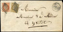 Let EMISSION DE 1849 - 1 Et 5, 10c. Bistre-jaune Et 40c. Orange, Au Filet Dans Un Angle, Obl. GRILLE S. LAC, Càd T15 TOT - 1849-1850 Cérès