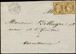 Let EMISSION DE 1849 - 1a   10c. Bistre-brun, PAIRE, Un Ex. Au Filet Sur 6 Mm, Obl. PC 1908 Sur Devant, Càd T15 MAS-CABA - 1849-1850 Cérès