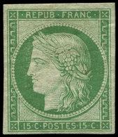 * EMISSION DE 1849 - 2    15c. Vert, 2 Inf. Points De Faiblesse Du Papier, Néanmoins Très Frais Et TB, Certif. Calves - 1849-1850 Cérès
