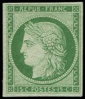 * EMISSION DE 1849 - 2    15c. Vert, Restes De Gomme, Sinon Très Frais Et TB, Signé Roumet - 1849-1850 Cérès