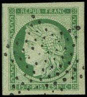 EMISSION DE 1849 - 2    15c. Vert, Obl. ETOILE, Marges énormes, Superbe - 1849-1850 Cérès