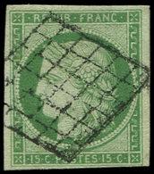 EMISSION DE 1849 - 2    15c. Vert, Oblitéré GRILLE, TB - 1849-1850 Cérès