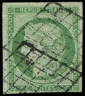 EMISSION DE 1849 - 2    15c. Vert, Obl. GRILLE, TB - 1849-1850 Cérès