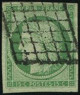 EMISSION DE 1849 - 2    15c. Vert, Obl. GRILLE, TB. C - 1849-1850 Cérès