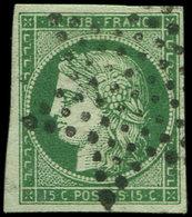 EMISSION DE 1849 - 2b   15c. Vert FONCE, Obl. ETOILE, Belle Nuance, TTB - 1849-1850 Cérès