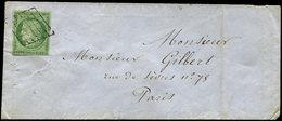 Let EMISSION DE 1849 - 2    15c. Vert, Obl. GRILLE S. Env. De Paris Pour Paris 4/5/51, TB - 1849-1850 Cérès