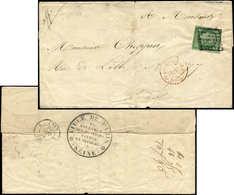 Let EMISSION DE 1849 - 2    15c. Vert Déf., Obl. GRILLE S. LSC,  Cachet PP N°2780, Au Verso Grand Cachet Ville De Paris  - 1849-1850 Cérès