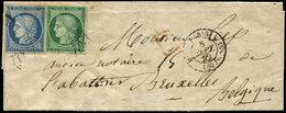 Let EMISSION DE 1849 - 2 Et 4, 15c. Vert Et 25c. Bleu (défx) Obl. GRILLE SANS FIN S. LAC, Càd PARIS 8/9/52, Arr. BRUXELL - 1849-1850 Cérès
