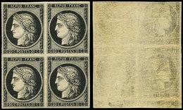 ** EMISSION DE 1849 - 3    20c. Noir Sur Jaune, BLOC De 4, 2 Ex. RECTO-VERSO Partiel, Inf. Ch. Sur La Paire Sup., TTB. C - 1849-1850 Cérès
