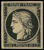 (*) EMISSION DE 1849 - 3    20c. Noir Sur Jaune, Reste De Gomme, TB - 1849-1850 Cérès