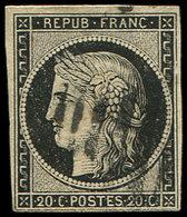 EMISSION DE 1849 - 3    20c. Noir Sur Jaune, Obl. BARRES DE LILLE, TB, Certif. A. Brun - 1849-1850 Cérès