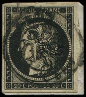 EMISSION DE 1849 - 3    20c. Noir Sur Jaune, Obl. Cursive 58/CUTS Et Càd T15 NOYON (4)/JANV/49 Sur Petit Fragt, TB - 1849-1850 Cérès