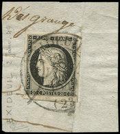 EMISSION DE 1849 - 3    20c. Noir Sur Jaune, Grandes Marges, Obl. Càd T13 EXCIDEUIL 2 JANV 1849 S. Fragt, TB. C - 1849-1850 Cérès
