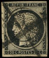 EMISSION DE 1849 - 3    20c. Noir Sur Jaune, à Peine Effl. En Angle, Obl. Càd PONT St VINCENT (52) JANV 49, Cachet Point - 1849-1850 Cérès