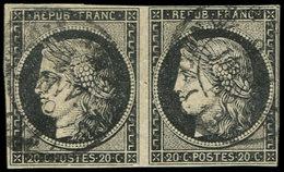 EMISSION DE 1849 - 3    20c. Noir Sur Jaune, PAIRE 1 Ex. Effl. Obl. Càd T15 2 JANV 49, TB - 1849-1850 Cérès