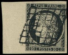 EMISSION DE 1849 - 3a   20c. Noir Sur Blanc, Bdf, Obl. GRILLE, Superbe - 1849-1850 Cérès