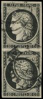 EMISSION DE 1849 - 3a   20c. Noir Sur Blanc, PAIRE Verticale Obl. Càd Tardif, TB - 1849-1850 Cérès