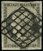 EMISSION DE 1849 - 3i   20c. GRIS, Obl. GRILLE, Superbe Nuance, Certif. Calves, TTB - 1849-1850 Cérès